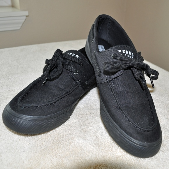 Sperry Topsider Black Canvas Boat Shoes